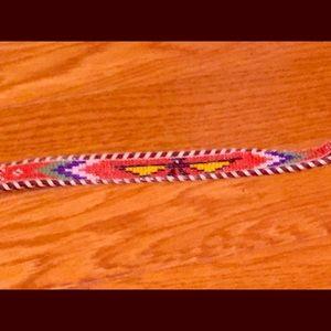 Navajo inspired beaded brown leather belt